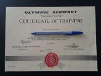 OLYMPIC AIRWAYS CERTIFICATE OF TRAINIG - RARE!!!