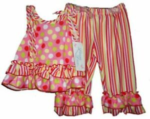 Laura Dare Toddler Girls Pajamas Dots and Stripes 2T