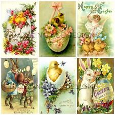12  VINTAGE EASTER GLOSSY TOPPERS CARDMAKING, SCRAPBOOKING PAPERCRAFT