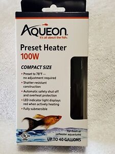 Aqueon Preset Heater 100W Compact Size Fresh/Saltwater Aquarium Up To 40 Gallons