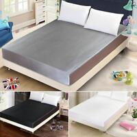 Fitted Bed Sheet Satin Silk Soft Bedding Mattress Cover Fade Resistant 1.5m/1.8m