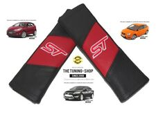"2x Seat Belt Covers Pads Red & Black Leather ""ST"" Edition For Ford Mondeo"