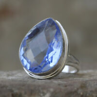 Pear Faceted Tanzanite Quartz Gemstone 925 Sterling Silver Artisan Ring Jewelry