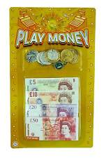 Childrens Kids Fake Money Play Set Coins Notes Paper Pounds Plastic Pennies