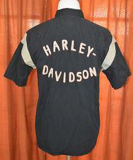 Harley Davidson Hombre Ingeniero Mecánico Botón Manga Corta Camisa Negra L