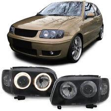BLACK / SMOKED ANGEL EYE HEADLIGHTS HEADLAMPS FOR VW POLO 6N2 10/1999-10/2001