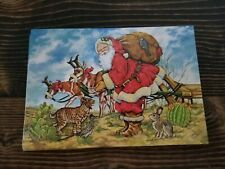 Vtg Leanin Tree 11 Fine Art Christmas Cards Santa Dessert Catus 1993 Donna Race