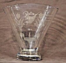 Big mid century Scandinavian art deco vase signed Julie engraved ornate antique