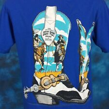 vintage 80s GREAT WEST BRAND COWBOY BOOTS  HORSE T-Shirt M/L cow leather thin