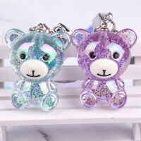 Cute Glitter Bear Keychain AB Color Quicksand Key Ring Car Handbag Pendant Gift