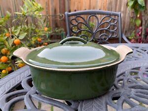 Le Creuset Cast Iron Olive Green Terrine 2 Qt Vintage Rare Excellent