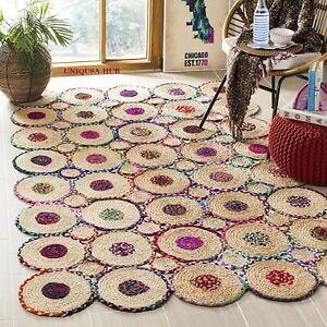 Rug 100% Natural Cotton Jute Braided Style Carpet Living Modern Floor Area Rugs