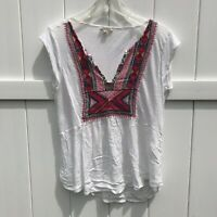 Lucky Brand Sleeveless T Shirt Top Womens Sz S Small White Boho Linen Blend