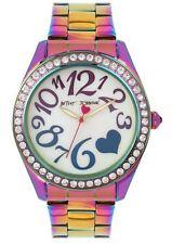 BETSEY JOHNSON BJ00624-01 Women's Rainbow Oil Slick Stainless Steel Watch NEW**
