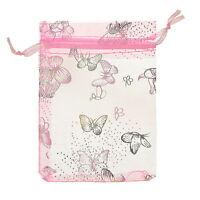25pcs 9x12cm Pink Butterfly Organza Gift Pouch Bags Wedding X-mas Favor