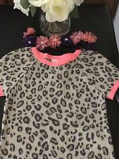 Girl SweaterDress animal print Beige / Brown Trimmed in Coral  New NWT. Size 5