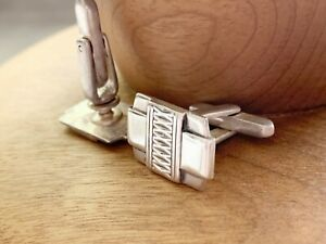Vintage Sterling Front Art Deco Style Cufflinks, by Hickok USA