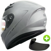 Full Face Street Bike Motorcycle Helmet +Free Smoked Shield DOT Matte Titanium