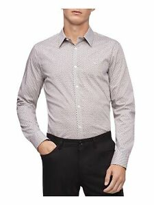 CALVIN KLEIN Mens White Geometric Long Sleeve Collared Classic Fit Button Down