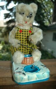 WORKING FISHING BEAR Vintage Alps Battery Operated Toy Japan