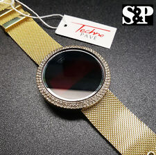 Hot! Techno Pave Iced Digital Touch Screen Gold PT Mesh Metal Band Bling Watch