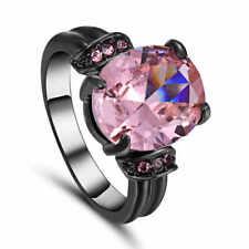 Size 8 Pink Sapphire Engagement & Wedding Ring Women's 10KT Black Gold Filled