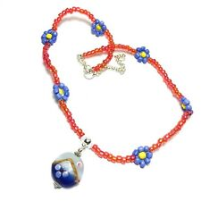 Glass Bead Choker Necklace Pendant Blue Red Yellow Summer Fashion