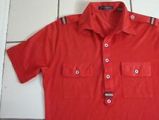 Vintage 70's Polo Collar Disco Button Down Thin Red T Shirt S