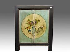 A Chinese Beautiful Green Cabinet Side Table Closet Flower design Paintings