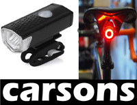 front LED & rear oval USB rechargeable bike lights set kit - mountain CARSONS