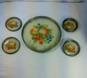 Vtg 5pc CHIC JAPAN 20s REVERSE Painted GLASS TRAY COASTERS Fruit METAL EDGE