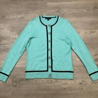 Brooks Brothers 346 Womens Teal Supima Cotton Button Cardigan Size Large
