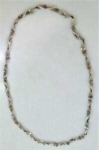 """34"""" Long Taxco Mexico Sterling Silver Modernist Sculptural Necklace 1965 WOWEE"""