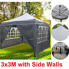3x3M Heavy Duty Pop Up Gazebo Waterproof Commercial Grade Canopy Tent with Sides