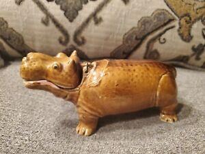 Vintage Ceramic Hippo Japan Hinged Mouth Aquarium Bubbler.