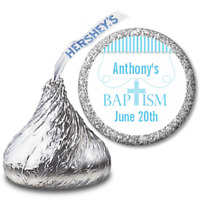 Cross Necklace Blue  Personalized Hershey Kiss Baptism Christening Sticker Label