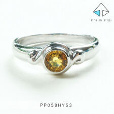 Thai Handmade 100% Natural Yellow Sapphire Gem with 925 Silver Ring PP058HY53
