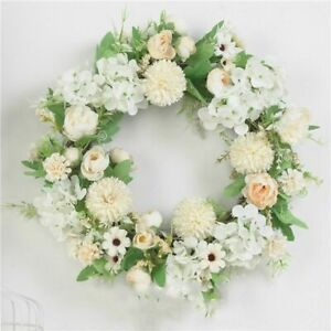 Artificial Flower Wreath Floral Spring Hanging Door Home Decoration Fake Round