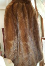 Vintage Genuine Hip Length Dark Brown Demi Buff Chevron Mink Fur Coat Jacket S10