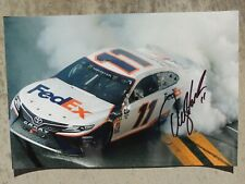 Denny Hamlin Autographed Picture  8x12  8x10  SIGNED  Victory Win Burnout