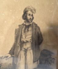 Superbe dessin original (c.1840), encadré vitré signé, paysan, romantisme