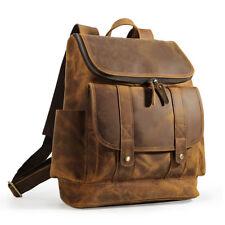 """Vintage Large Men's Leather 15 """" Laptop Backpack Hiking Travel Outdoor Handbag"""