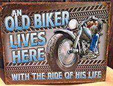 Old Biker Lives Here Metal Sign Picture Harley Garage Shop Bar Office Decor Gift