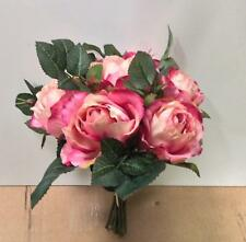 New Tied Bundle / Bouquet x7 Stems Queen Roses Silk Flowers Dark Pink 9in