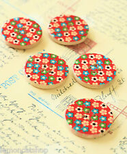 Flower Buttons 5pc Red printed floral sewing notions scrapbook quilting craft