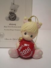 Precious Moments Baby Girl's First Christmas Ornament 2016 Edition NEW