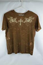Men's REVERSIBLE Affliction Angel Cross Skull T Shirt - Large