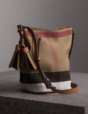 NWT Burberry Canvas Check Mini Ashby Tassel Crossbody Bag , Saddle Brown