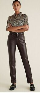 M&S SIENNA faux leather straight leg Trousers chocolate size 18 short BNWT