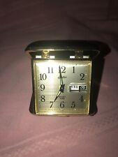 Vintage Linden Travel Alarm Clock Wind Up.. date ..calendar ..glow dots